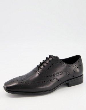Черные кожаные броги Macro-Черный цвет Office