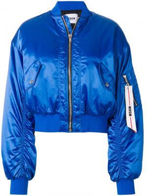Укороченная куртка бомбер MSGM. Цвет: синий
