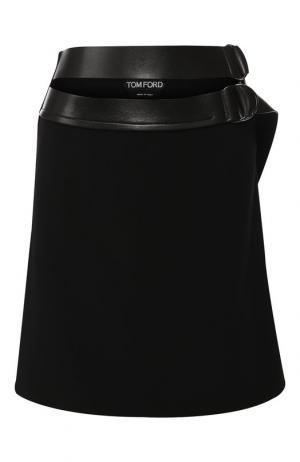 Шерстяная мини-юбка с поясом Tom Ford. Цвет: чёрный