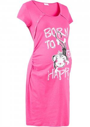 Ночная рубашка bonprix. Цвет: ярко-розовый