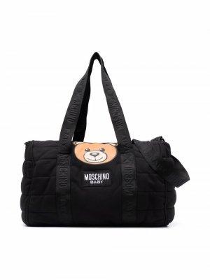 Teddy Bear-print changing bag Moschino Kids. Цвет: черный