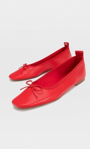 Балетки С Бантами Красный 36 Stradivarius. Цвет: красный