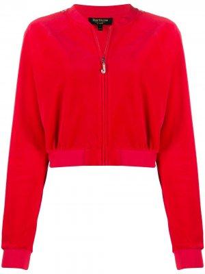 Декорированная спортивная куртка с капюшоном Juicy Couture. Цвет: красный
