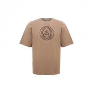 Хлопковая футболка Acne Studios. Цвет: бежевый