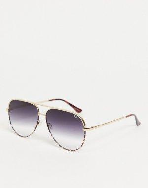 Женские солнцезащитные очки-авиаторы в золотистой оправе Quay High Key-Золотистый Australia
