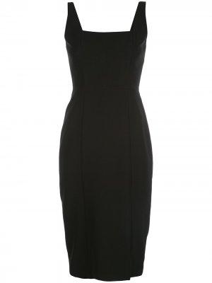 Платье миди Rita с квадратным вырезом Milly. Цвет: черный