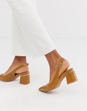 Туфли из искусственной крокодиловой кожи на каблуке с острым носком и ремешком через пятку Saucer-Светло-коричневый ASOS DESIGN