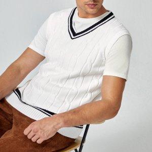 Мужской Вязаный жилет с контрастной отделкой SHEIN. Цвет: черный и белый
