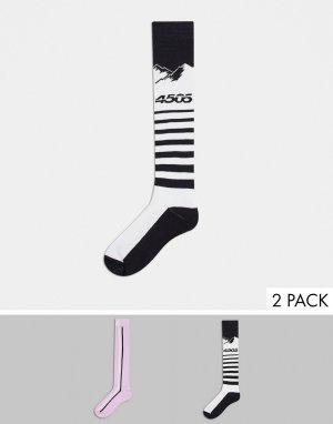 Набор из 2 пар горнолыжных носков с белым принтом гор и в фиолетовую полоску ski-Многоцветный ASOS 4505