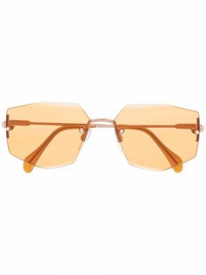 Солнцезащитные очки в безободковой оправе Cazal. Цвет: оранжевый