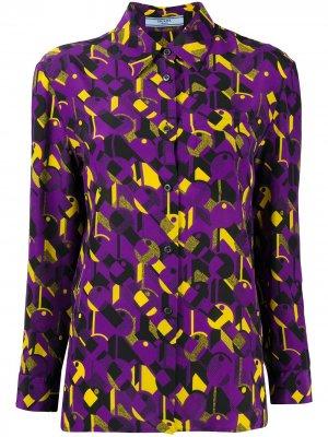 Рубашка с геометричным принтом Prada Pre-Owned. Цвет: фиолетовый