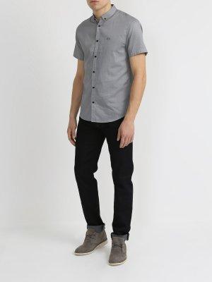 Хлопковая рубашка с коротким рукавом Armani Exchange. Цвет: temno_siniy