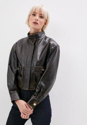 Куртка кожаная Sandro. Цвет: коричневый