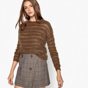 Пуловер с круглым вырезом из плотного трикотажа SEE U SOON. Цвет: каштановый,черный
