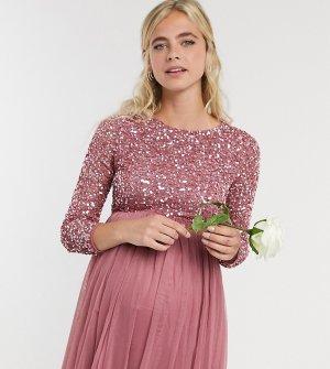 Розовое платье макси для беременных с пайетками, длинными рукавами и фатиновой юбкой -Розовый Maya Maternity