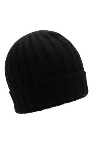 Кашемировая шапка фактурной вязки Allude. Цвет: чёрный
