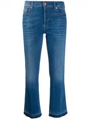 Укороченные джинсы средней посадки 7 For All Mankind. Цвет: синий