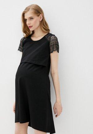 Платье домашнее Hunny mammy. Цвет: черный