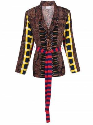 Пиджак со вставками и поясом Pierre-Louis Mascia. Цвет: коричневый