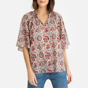 Блузка с цветочным рисунком и круглым вырезом разрезом спереди BETSIE BLOUSE ANTIK BATIK. Цвет: наб. рисунок красный