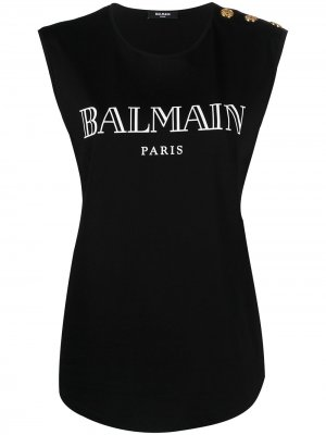 Топ с логотипом Balmain. Цвет: черный