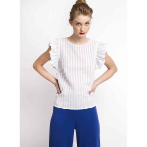 Блузка в полоску с воланами проймах COMPANIA FANTASTICA. Цвет: в полоску синий/белый