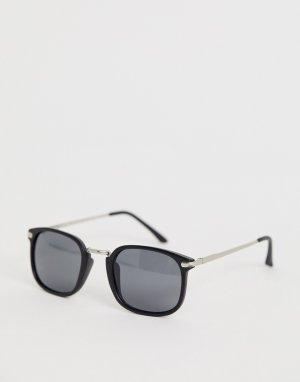 Солнцезащитные очки в квадратной оправе с черной и золотистой отделкой -Черный AJ Morgan