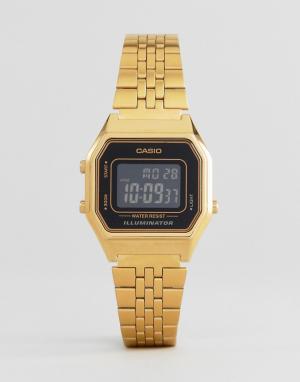 Цифровые часы в стиле унисекс с уменьшенным циферблатом черного цвета LA680WEGA-1BER-Золотистый Casio