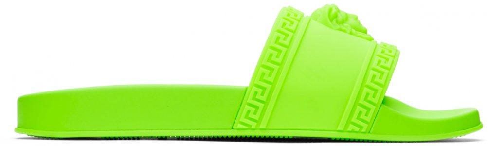 Green Palazzo Pool Slides Versace. Цвет: df4 fluo