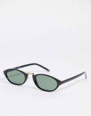Черные овальные солнцезащитные очки -Черный цвет ASOS DESIGN