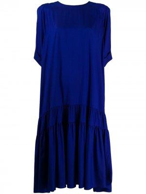 Платье-трапеция с короткими рукавами Rochas. Цвет: синий