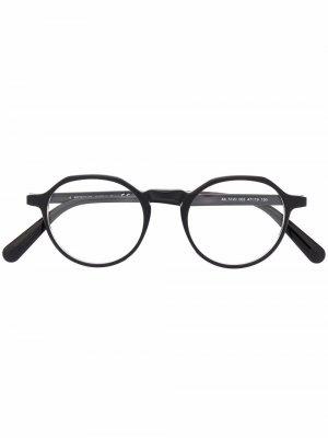 Очки в круглой оправе Moncler Eyewear. Цвет: черный