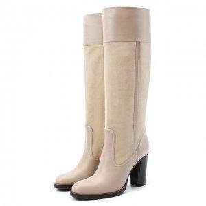 Кожаные сапоги Emma Chloé. Цвет: бежевый