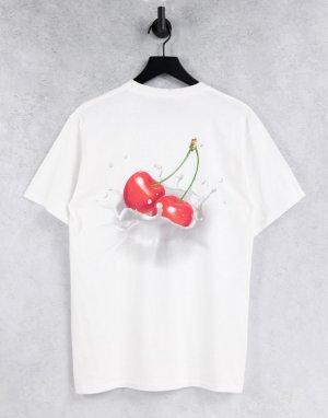 Белая футболка с принтом вишен на спине -Белый HUF