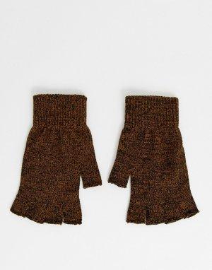 Перчатки табачного цвета без пальцев -Коричневый ASOS DESIGN