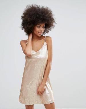 Платье с пайетками и спиной-борцовкой Darling. Цвет: розовый