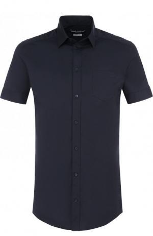 Хлопковая сорочка с короткими рукавами Dolce & Gabbana. Цвет: синий