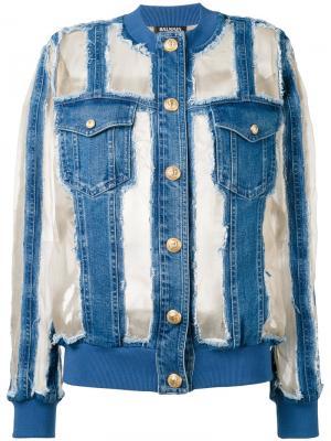 Джинсовая куртка с прозрачными панелями Balmain. Цвет: синий