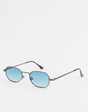 Солнцезащитные очки с синими стеклами в шестиугольной оправе -Голубой Topman