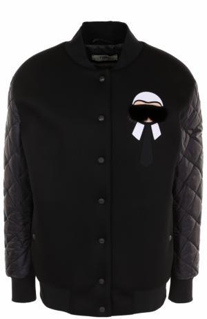 Бомбер с декоративной отделкой и утепленными рукавами Fendi. Цвет: черный