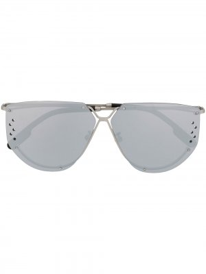 Солнцезащитные очки-авиаторы с перфорацией Kenzo. Цвет: серый