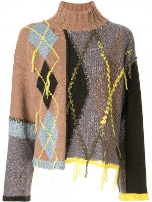 Джемпер асимметричного кроя с высоким воротником Antonio Marras. Цвет: разноцветный