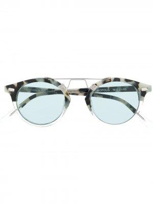 Солнцезащитные очки в круглой оправе черепаховой расцветки Spektre. Цвет: серый