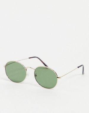 Овальные солнцезащитные очки в золотистой оправе -Золотистый New Look