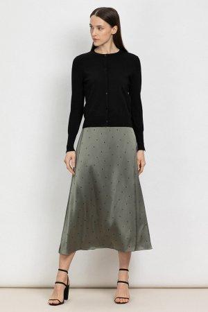 Расклешенная юбка-миди из вискозы VASSA&Co. Цвет: зеленый