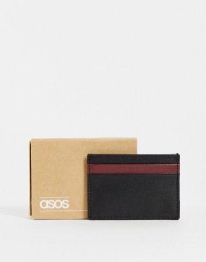 Черная кожаная кредитница с контрастной бордовой вставкой -Черный цвет ASOS DESIGN