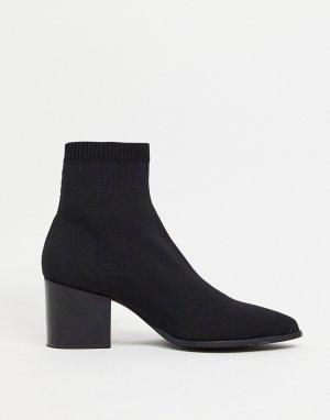 Ботинки челси на каблуке с открытым носком и неопреном -Черный цвет ASOS DESIGN
