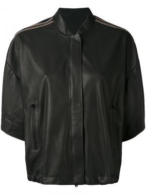 Cropped sleeve bomber jacket Brunello Cucinelli. Цвет: коричневый