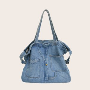 Джинсовая сумка-тоут большой емкости SHEIN. Цвет: синий