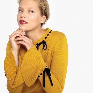 Пуловер с круглым вырезом и бантом из велюра LA REDOUTE COLLECTIONS. Цвет: желтый карри,темно-зеленый